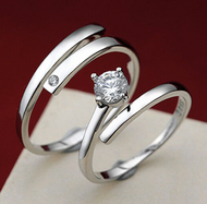925 Sterling Silver Wedding Engagement Couple Ring