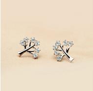 925 Sterling Silver Trendy Life Tree Zircon Crystal Earrings