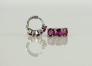 925 Sterling Silver Red Ruby Brass Earrings