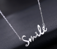 925 Sterling Silver SMILE Cubic Zirconia Women Pendant Necklace Chain