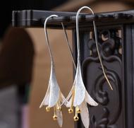 925 Sterling Silver Gold Flower Fashion Dangle Earrings