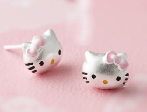 925 Sterling Silver Cute Kitty Pink Bow Earrings