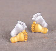 925 Sterling Silver Baby Foot Gold Plated Earring