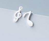 925 Sterling Silver Asymmetry Musical Note Earrings