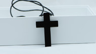 Stainless Steel Black Vintage Cross Pendant Unisex Necklace Chain Cord