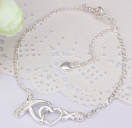 925 Sterling Silver Love Statement 11.5 inch Solid Anklet Women Bracelet