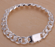 925 Sterling Silver Plated 10mm Chain Fashion 8.7 inch Bracelet Unisex Necklace