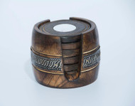 Handmade Wooden Round Coasters With Barrel Holder (6 - Pack)