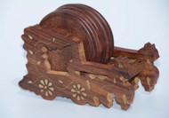 Handmade Wooden Round Coaster with Horse Cart Holder (6 - Pack)