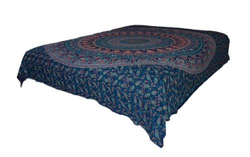 Hippie Blue Peacock Mandala Tapestry Bohemian Wall Hanging Throw Dorm Decor