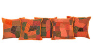 Kantha Multicolored Patchwork Orange Cushion Covers Decorative Pillow Case