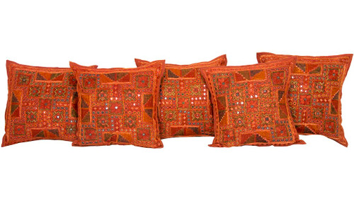 Kantha Embroidered Mirrorwork Brown Cushion Covers Decorative Pillow Case