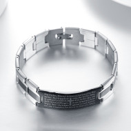 Christian Black Silver-Tone English Prayer Jesus Stainless Steel Unisex Bracelet