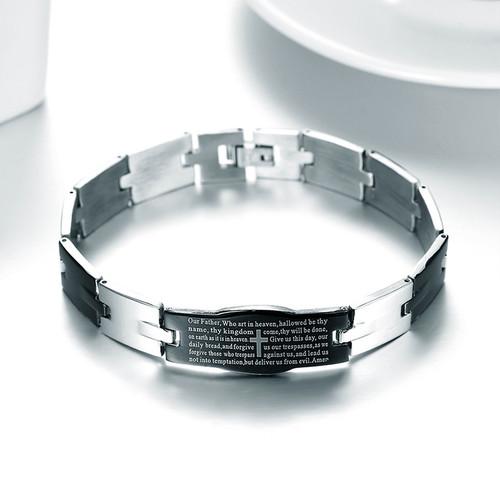 Christian Religious English Prayer Jesus Black Stainless Steel Unisex Bracelet