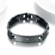 Christian Religious Spanish Prayer Jesus Black Stainless Steel Unisex Bracelet