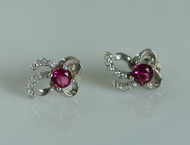 925 Sterling Silver Stunning Pink White Stud Earrings