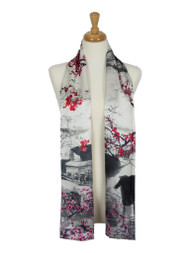 AamiraA Grey Red Town Soft Mulberry Satin Silk Stole Women Long Scarf