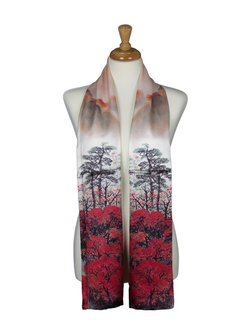 AamiraA Forest Mountain Soft Mulberry Satin Silk Stole Women Long Scarf