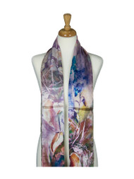 AamiraA Petunia Flowers Soft Mulberry Satin Silk Stole Women Long Scarf