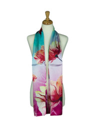 AamiraA Big Lotus Bloom Soft Mulberry Satin Silk Stole Women Long Scarf