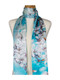 AamiraA White Amaryllis Flowers Soft Mulberry Satin Silk Stole Women Long Scarf