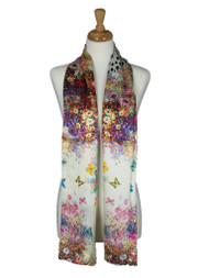 AamiraA Spring Butterfly Soft Mulberry Satin Silk Stole Women Long Scarf