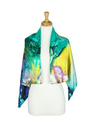 AamiraA Water Color Mulberry Satin Silk Stole Women Square Scarf