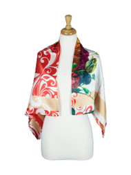 AamiraA Spring Flower Mulberry Satin Silk Stole Women Square Scarf