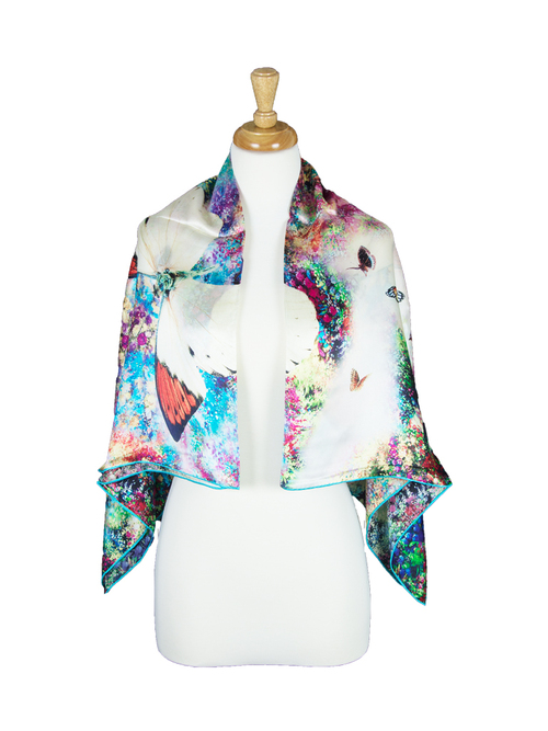 AamiraA Blossom Mulberry Satin Silk Stole Women Square Scarf