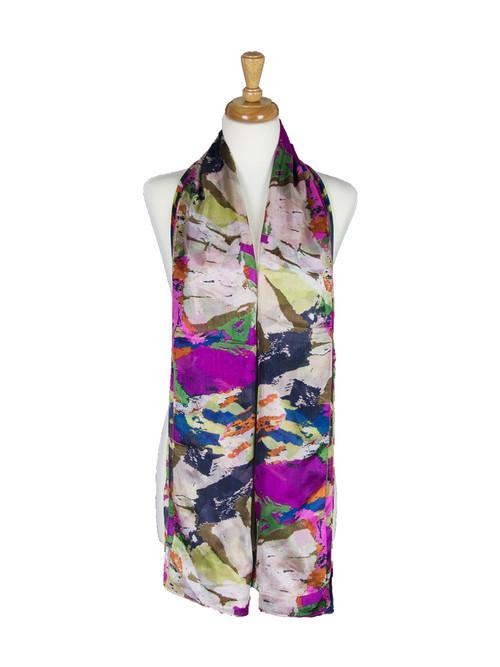 AamiraA Multicolor Stripes Mulberry Chiffon Silk Stole Women Scarf