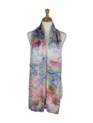 AamiraA Branches Mulberry Chiffon Silk Stole Women Oblong Scarf