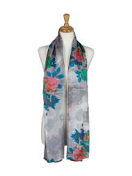 AamiraA Vibrant Roses Mulberry Chiffon Silk Stole Women Oblong Scarf
