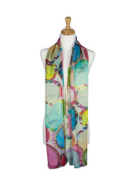 AamiraA Abstract Circle Mulberry Chiffon Silk Stole Women Oblong Scarf