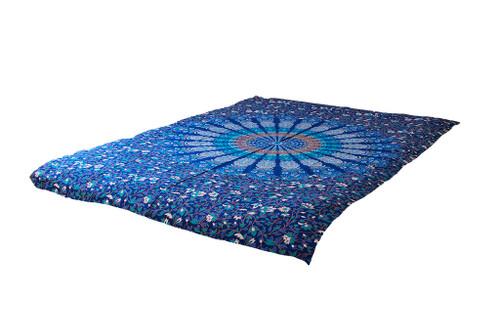 Twin Dark Blue Psychedelic Mandala Tapestry Bohemian Wall Hanging Throw Dorm Decor