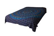 Queen Blue Flower Mandala Tapestry Bohemian Wall Hanging Throw Dorm Decor