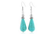 Platinum Plated Turquoise Teardrop Dangle Brass Earrings
