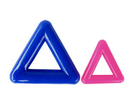 "The two sizes (1"" & 2"")of Marbella Triangles shown together in all their colours"