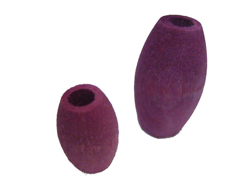 The two sizes of Oval Wood Beads shown together