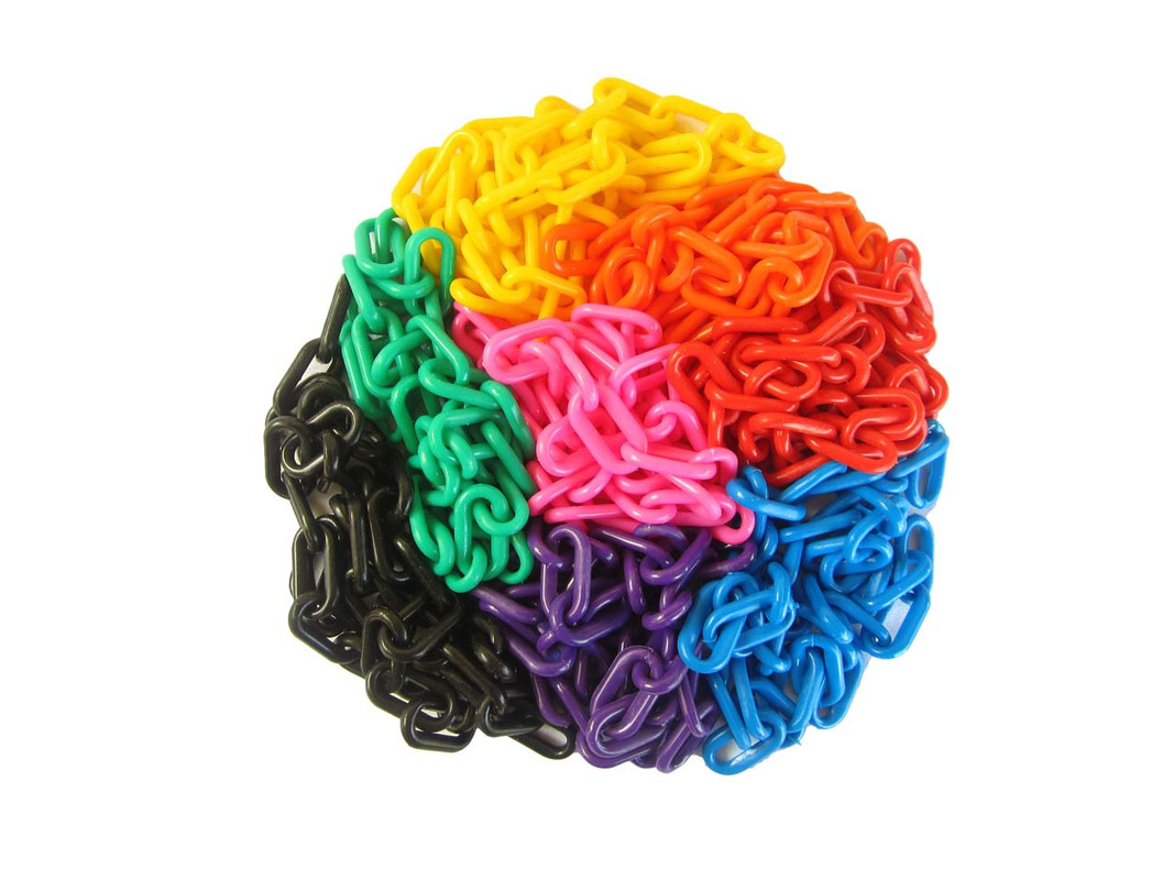 All the colours of the 3mm Plastic Chain shown together