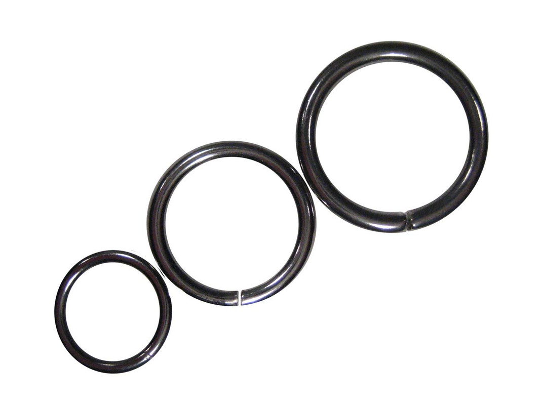 The three sizes of unwelded stainless steel O-Rings shown together