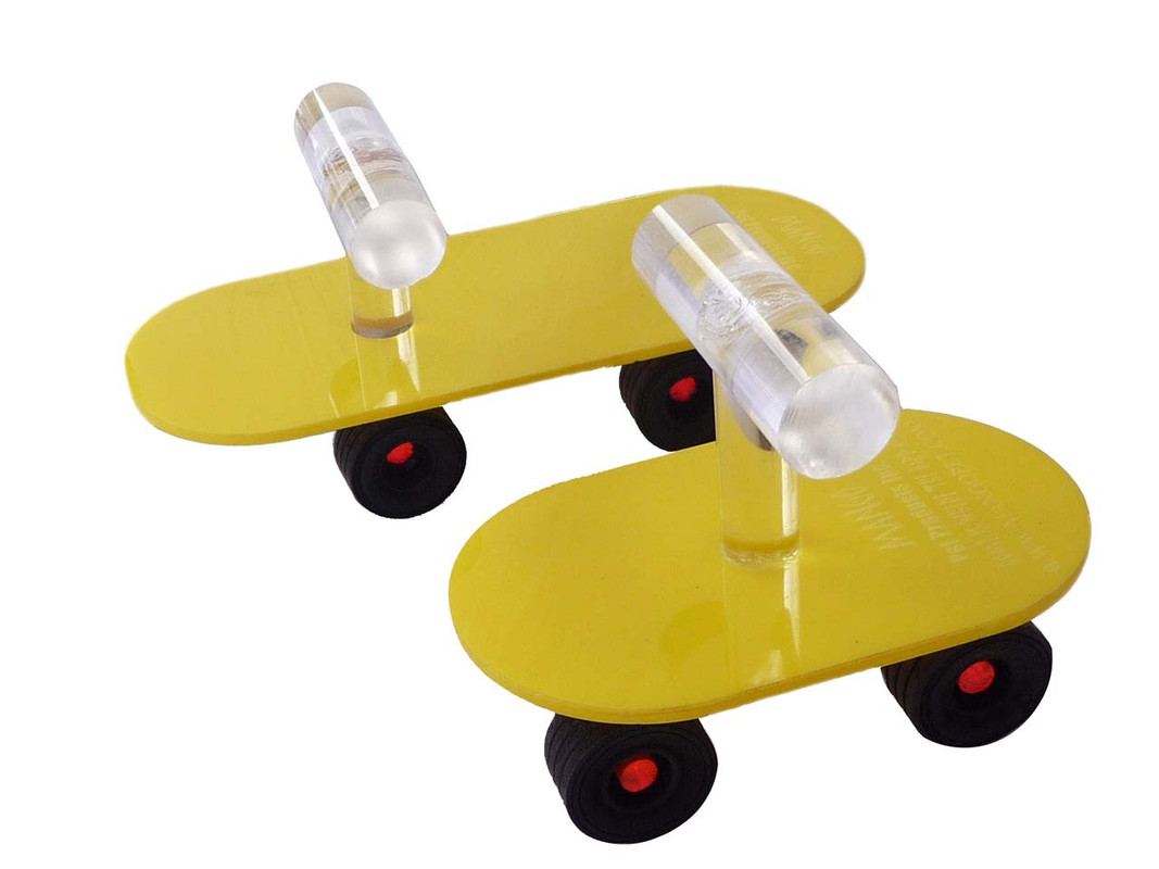 The Hot Rod and Mini Scooter Skateboards shown together