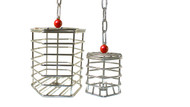 Small and large stainless steel baffle cages