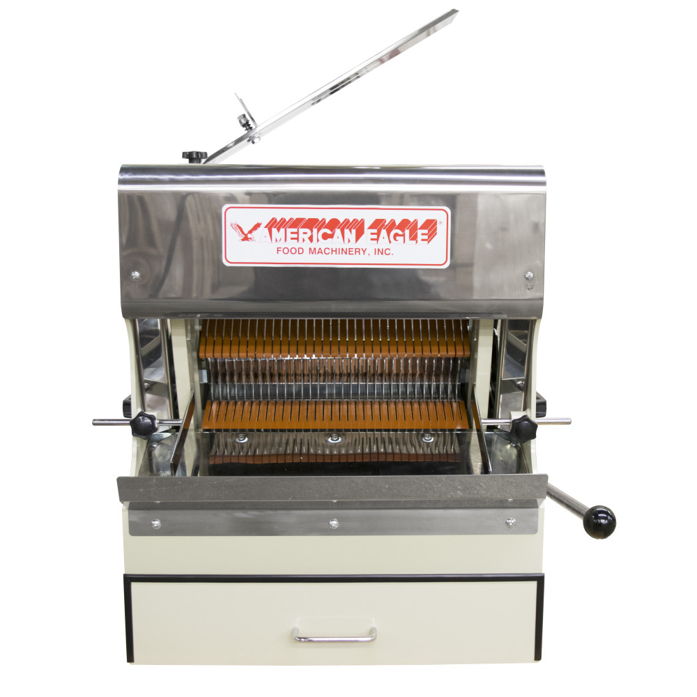 American Eagle Food Machinery Bread Slicer Machine, Front Load with Safety Guard, 1/2HP, AE-BS01 - Front