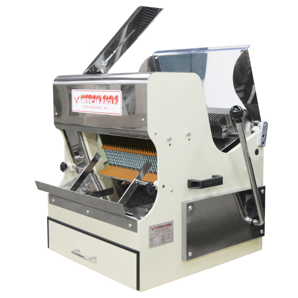 American Eagle Food Machinery Bread Slicer Machine, Front Load with Safety Guard, 1/2HP, AE-BS01 - Side