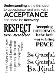 Acceptance, Respect Peace, Set of 5