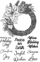 Poinsettia Wreath Wishes, Set of 7