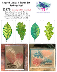 Layered Leaves 4 Stencil Set Package Deal (12 Stencils)