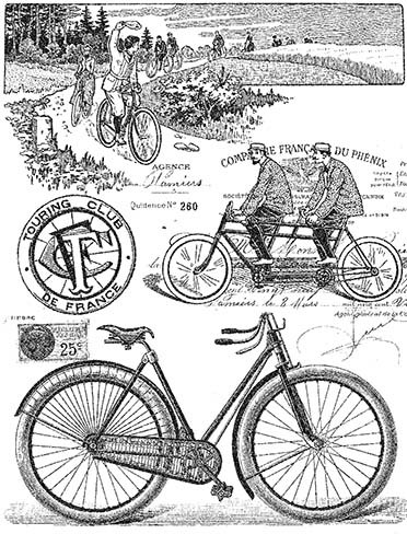 P017 Vintage Bicycle Collage