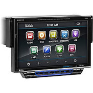 BOSS AUDIO BV8974B Single-DIN 7 inch Motorized Touchscreen DVD Player, Receiver, Bluetooth, Detachable Front Panel, Wireless Remote