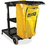 Genuine Joe Workhorse Janitor's Cart - 40 inch; Width x 20.5 inch; Depth x 38 inch; Height - Charcoal, Yellow